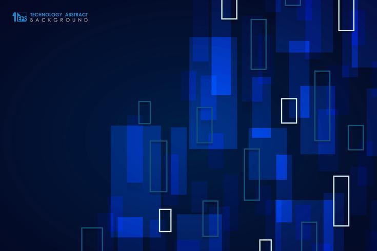 Fundo azul abstrato da tampa do projeto do teste padrão do quadrado da tecnologia. ilustração vetorial eps10 vetor