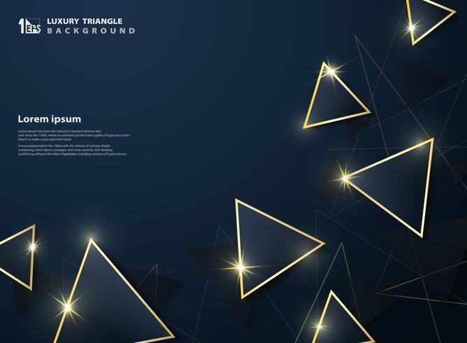 O deluxe principal abstrato do triângulo azul do inclinação escuro com a decoração do quadro do ouro brilha o fundo. vetor
