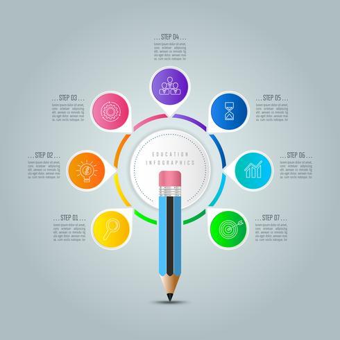 Infografia de educação modelo 7 passo opção. vetor