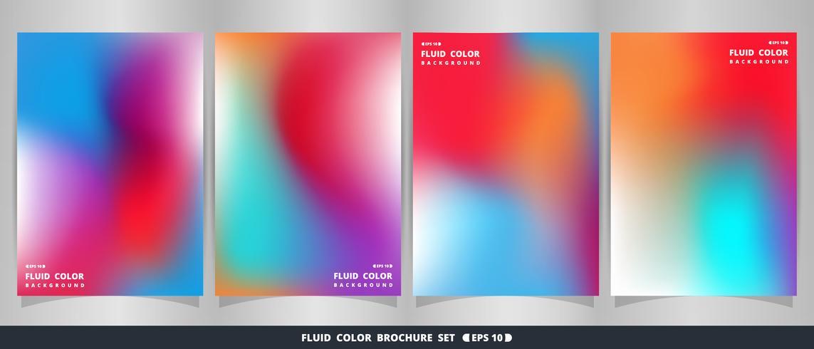 Grupo colorido fluido vívido moderno abstrato do folheto. vetor