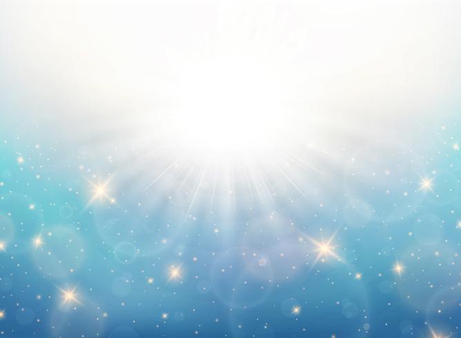 O sol abstrato do verão estourou no teste padrão do céu azul com fundo dos brilhos do ouro. Você pode usar para anúncios, pôsteres, web e obras de arte. vetor