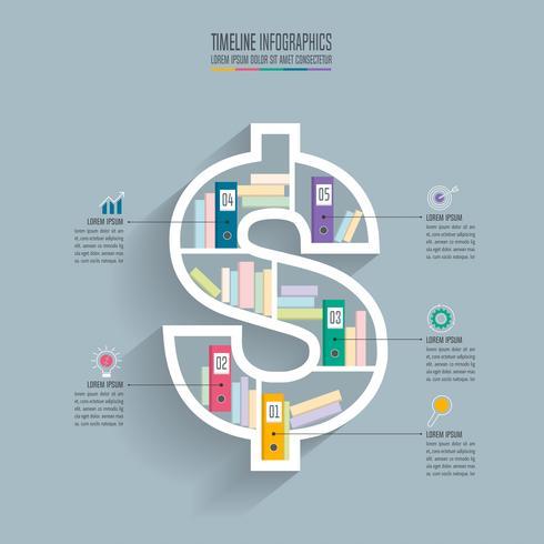 conceito de negócio timeline infográfico design com 5 opções. vetor