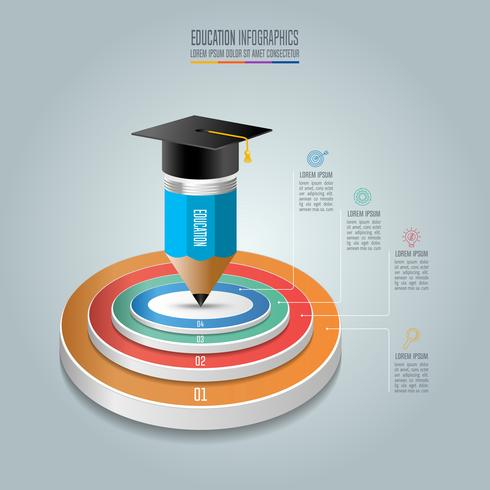 Infografia de educação modelo 4 passo opção. vetor