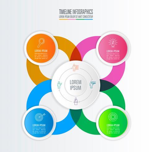 conceito de negócio de design infográfico com 4 opções. vetor