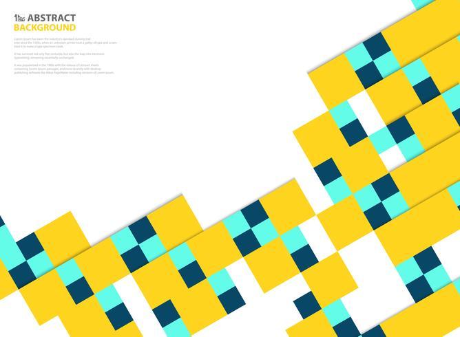 O papel quadrado das cores abstratas cortou o projeto moderno do teste padrão no amarelo, azul no fundo branco. Você pode usar para design de corte de papel de cartaz, anúncio, capa, trabalho artístico, relatório anual. vetor