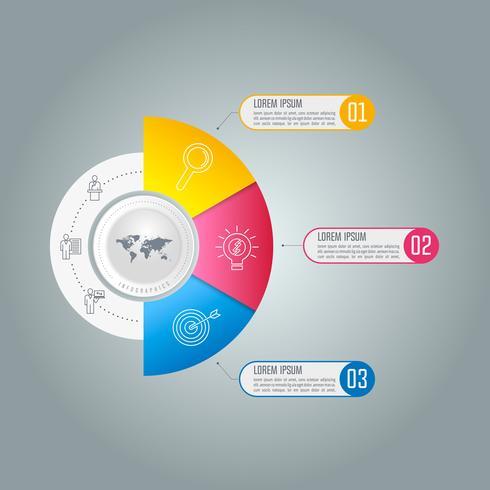conceito de negócio de design infográfico com 3 opções. vetor
