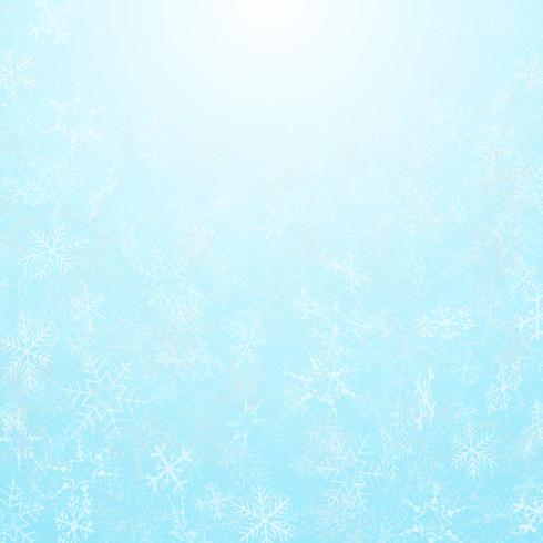 Sumário de flocos de neve do festival do Natal com fundo do céu. vetor