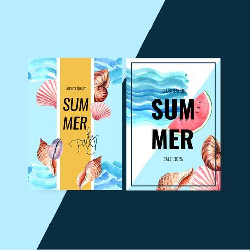 Festa de férias de design de cartão convite de verão no sol do mar praia, design criativo de ilustração vetorial aquarela vetor