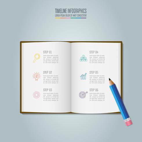 Infografia de educação modelo 6 passo opção. Linha cronograma infográfico design vector. vetor