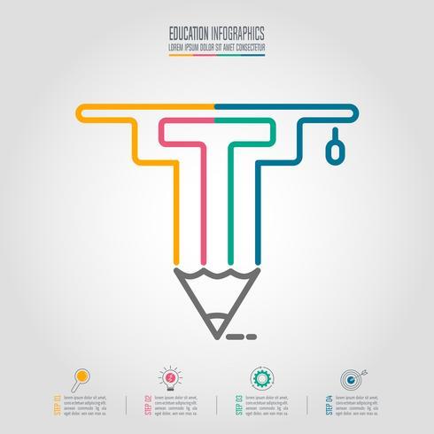 Modelo de infográficos de educação com o ícone de boné e lápis de formatura. vetor