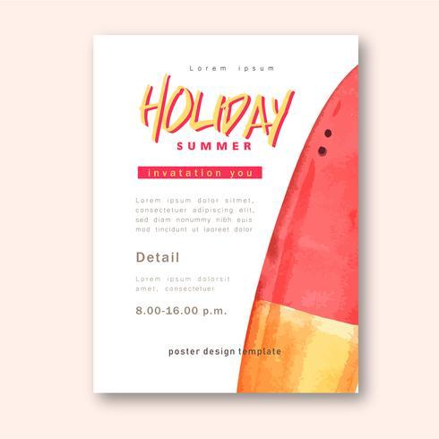 Viajar de férias de verão a praia Férias de palmeira, mar e céu luz solar, design criativo de ilustração vetorial aquarela vetor