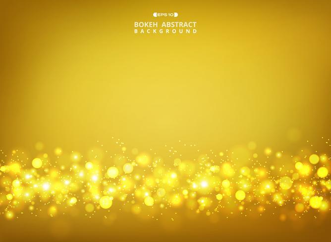 Sumário do bokeh dourado dos brilhos no fundo do inclinação do ouro. vetor