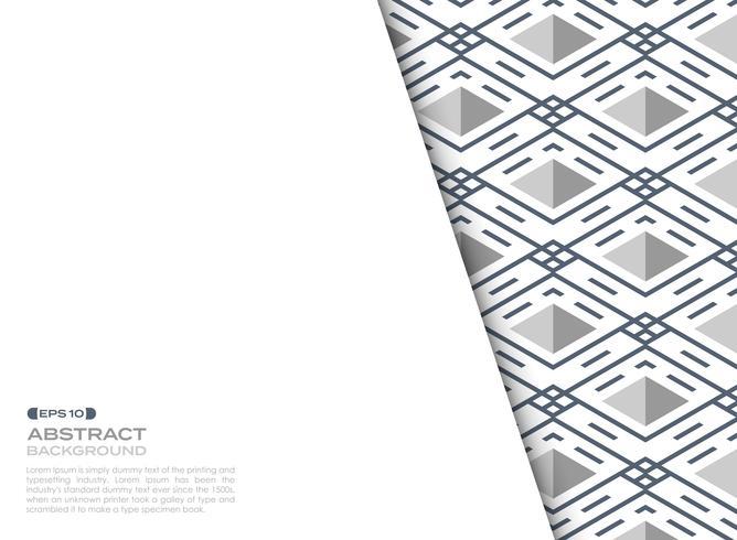 Folha de tampa abstrata da linha listra azul fundo geométrico do quadrado do teste padrão. vetor