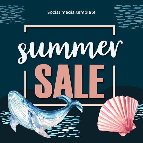 Férias de publicidade de mídia social de verão no desconto de venda. tempo de férias, design criativo de ilustração vetorial aquarela vetor