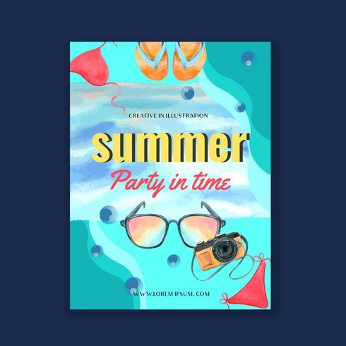 Viagem de férias de verão a praia Cartaz de férias de palma árvore, mar e céu luz solar, design criativo de ilustração vetorial aquarela vetor