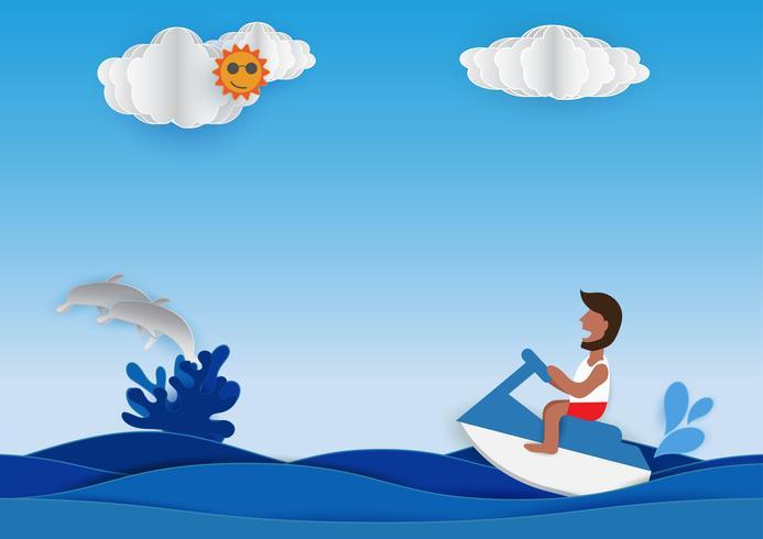 Esporte aquático jet ski vetor