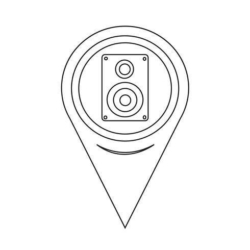 Ícone de alto-falantes do Pointer Audio de mapa vetor