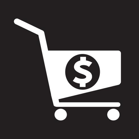 ícone de carrinho de compras de dólar vetor