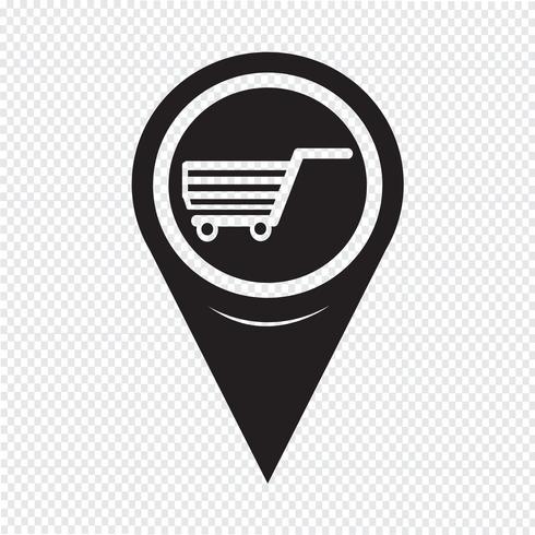 Ícone de carrinho de compras de ponteiro de mapa vetor