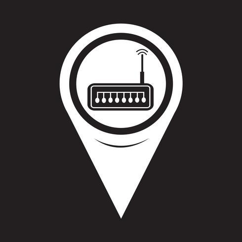 Ícone de roteador de ponteiro de mapa vetor