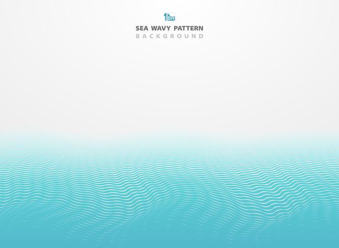 A listra azul abstrata do teste padrão ondulado do mar alinha o fundo. Você pode usar para anúncio, cartaz, folheto, modelo, design de capa, relatório anual. vetor