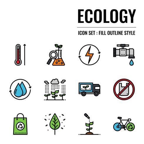 ícone de estrutura de tópicos de ecologia vetor