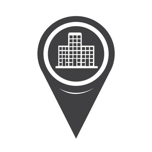 Ícone de edifício de ponteiro de mapa vetor