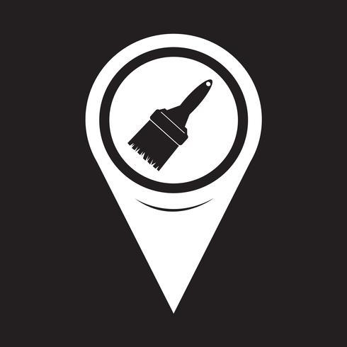 Ícone de pincel de ponteiro de mapa vetor