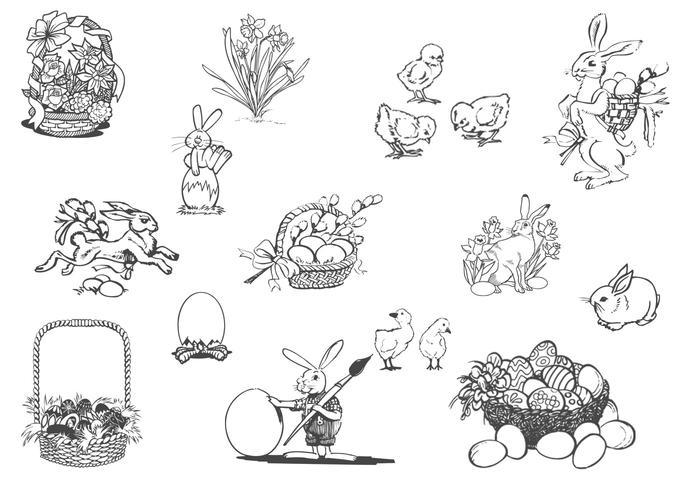 Conjunto de vetores de Primavera e Páscoa desenhada