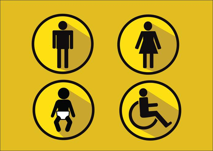 Símbolo de banheiro ícone de deficiência de mulher de homem e criança vetor