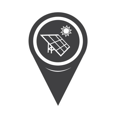 ícone de energia solar de ponteiro de mapa vetor