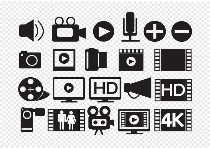 Ícones de multimídia de filme de vídeo vetor