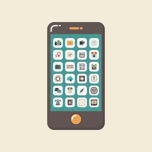 smartphone com aplicação vetor