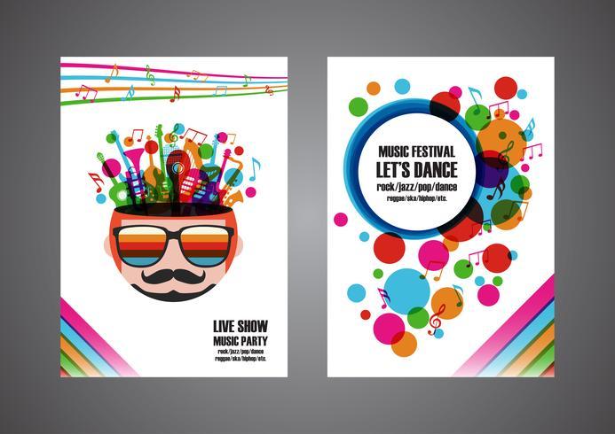 cartaz colorido do festival de música vetor