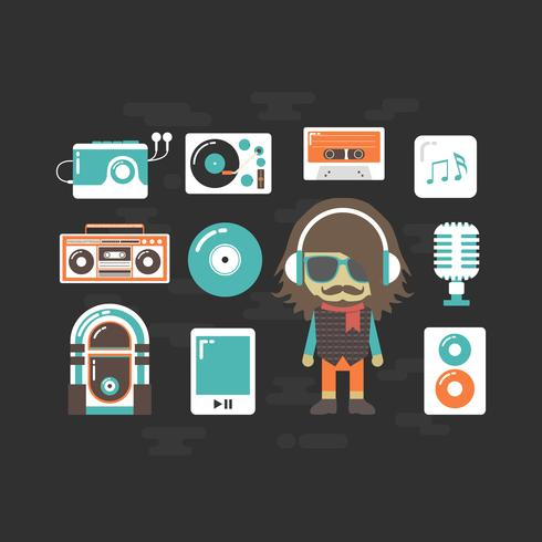 hip hop DJ e música instrumental vetor