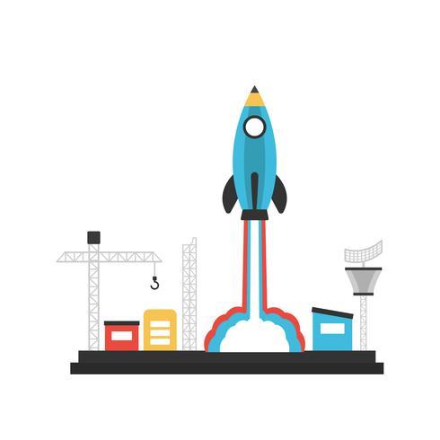 lançamento de foguete de lápis vetor