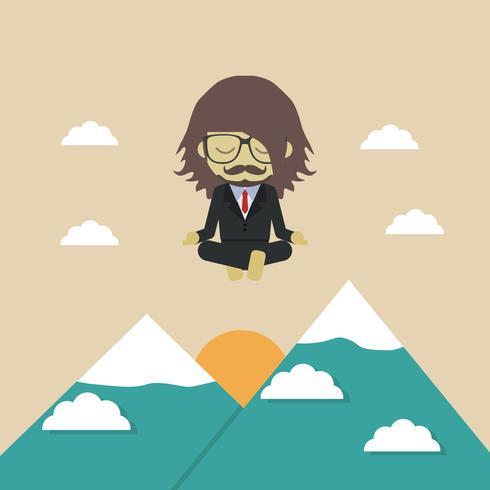 voar acima da montanha vetor