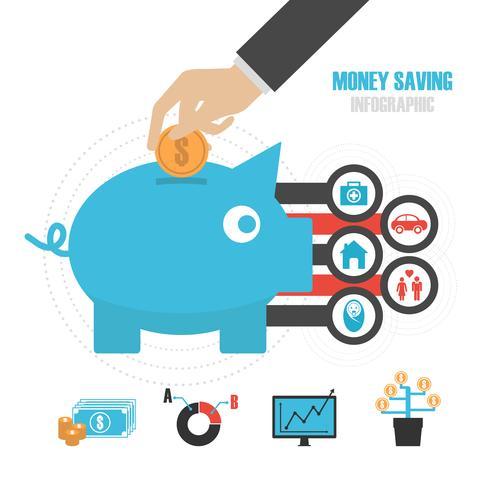 conceito de poupar dinheiro vetor