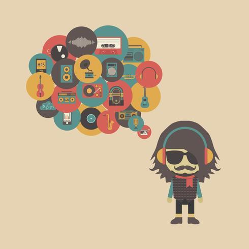conceito de escuta hipster vetor