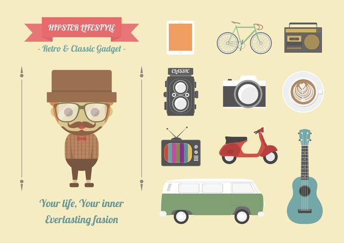 estilo de vida hippie com gadget vetor
