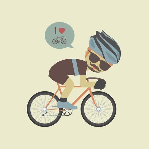 ciclista de hipster em bicicleta vetor