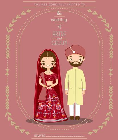 noiva e noivo indiano bonito no vestido tradicional para cartão de convites de casamento vetor