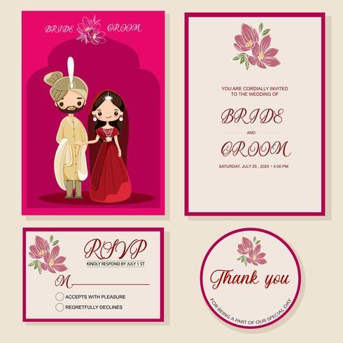 noiva e noivo indiano bonito no modelo de cartão de convites de casamento vetor