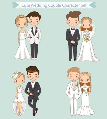 cute noiva e noivo na coleção de personagem de desenho animado de vestido de casamento vetor