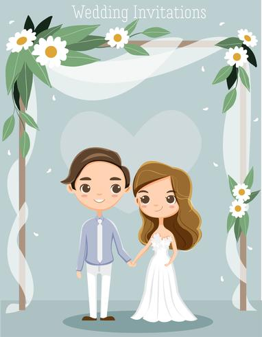 bonito noiva e noivo para cartão de convites de casamento vetor