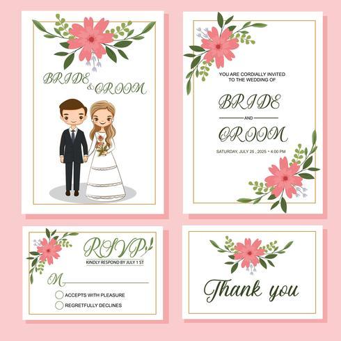 noiva bonito e noivo no modelo de cartão de convites de casamento vetor