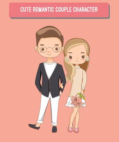 personagem de desenho animado bonito casal romântico vetor