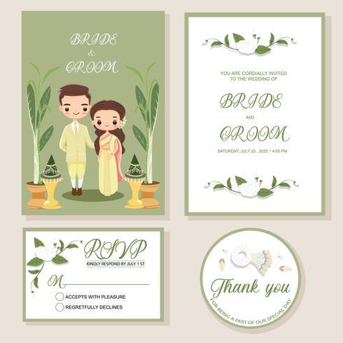 casal tailandês bonito da noiva e do noivo no modelo de cartão de convites de casamento vetor