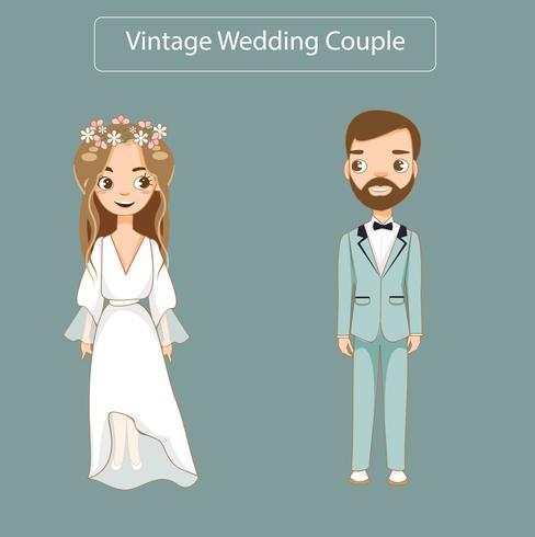 lindo casal de noivos em vestido de noiva vintage vetor