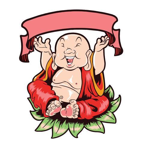 Vetor feliz de Budha com camadas editáveis